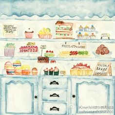 Cute Bakery #art #watercolor #illustration #painting #shop #window #display