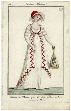 Journal des Dames et des Modes, 1798. I'm in love with this gown. I really like the use of red for the unusual trimming, and I think her sleeves are lovely. Her bonnet is bold and charming and LOOK AT THAT RETICULE! It is AMAZING!