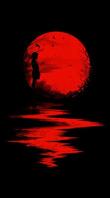 Nicebleed (Francis and Laurence Minoza) illustration - little girl in red sunset Art Rouge, Moon Images, Red Images, Red Pictures, Bing Images, Blood Moon, Blood Art, Beautiful Moon, Red Art