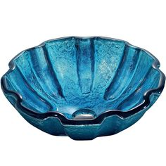 The VIGO Mediterranean Seashell glass vessel bowl features a unique shell design and striking blue color, bringing a summer's ocean breeze to your home. The solid tempered glass sink is handmade.
