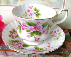Royal Albert Mayflower Teacup and Saucer English Bone China Pink and White Tea Cup Set Tea Party Wedding Bridal Shower Pink Flower Tea Set