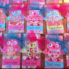 Owl party favors for nieces birthday party