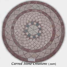 "This 24"" Dia. mosaic from Carved Stone Creations is made from mixed marble stone and comes adhered to a mesh back.  Don't drive yourself crazy trying to set a complex pattern like this!  With the mesh backing all you need to do is spread grout between the tiles and wipe off with a damp rag to set.  $154  Click the image to see it in our online store. #stone #mosaic"