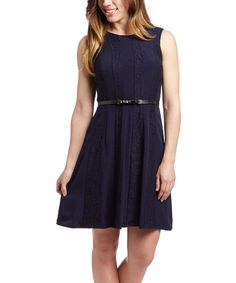 Look at this Evening Blue Belted Sleeveless Dress on #zulily today!