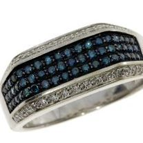 Set in 10k gold this ring features 1 carat of round blue diamonds. Available in size 10. As with all orders a free gift and free shipping is included!