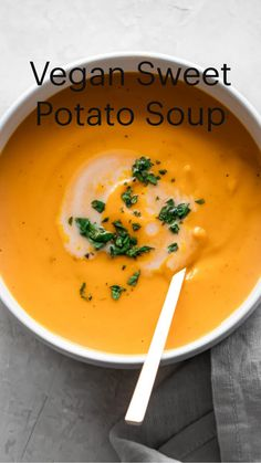 This velvety smooth sweet potato soup is cooked with fresh ginger and onions and blended with coconut milk, to create a sweet and savory flavor. Serve with a green salad and toasted baguette for an easy meal. Vegetarian Soup, Vegan Soup, Vegetarian Recipes, Healthy Soup Recipes, Cooking Recipes, Potato Recipes, Healthy Snacks, Healthy Eating, Sweet Potato Soup