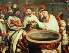 First Baptism of the Indians by the Dominicans (oil on canvas)