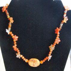 "Orange Bursts 20"" Necklace | hollyshobbiesncrafts - Jewelry on ArtFire"