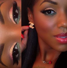 Pink and Green Eyeshadow #followprettypearlsinc AKA 1908