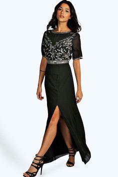 Beauty Embellished Maxi Dress Balck 4ufashion.eu