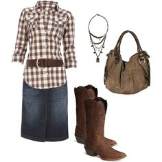 Denim pencil skirt and brown and white plaid button-up shirt. minus the cowgirl boots!