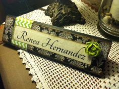 Unique Wooden Office Desk Name Plate / Plaque / by ShelleeOdom, $18.00