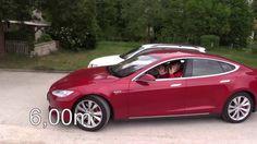 Tesla Model S Test zum automatisches Einparken