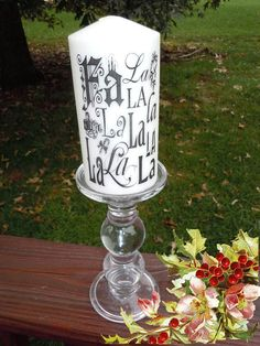 Marvelous Printed 6 Pillar Candle Fa La La La La By ExcuseMeDesigns