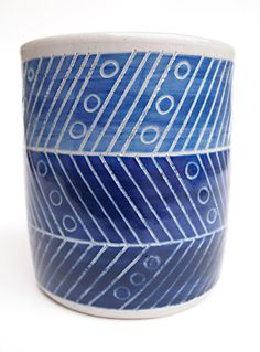 Wheelthrown MultiBlue Tracks Ceramic Cup by lovebugkiko on Etsy