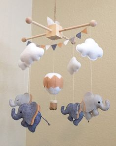 Baby mobile Elephant mobile nursery hanging by littleHooters