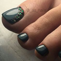 Gray - Rhinestone TOE NailART