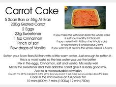 carrot cake made with scan bran for slimming world Bake for 12 mins? Slimming World Carrot Cake, Slimming World Deserts, Slimming World Syns, Slimming Eats, Slimming World Recipes, Scan Bran Recipes, Healthy Eating Recipes, Cooking Recipes, Healthy Eats