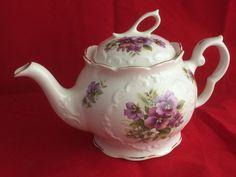 Beautiful Vintage Royal Patrician Fine China Large Teapot Purple Pansies | eBay