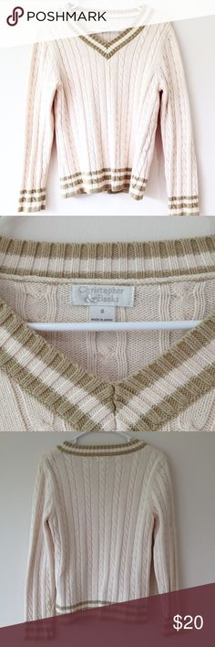 Christopher and Banks Varsity Sweater Cream and brown knit sweater. In great condition. Size S from Christopher & Banks.  Fast shipping from a smoke free home. Christopher & Banks Sweaters V-Necks
