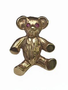 Lippa's Estate and Fine Jewelry - 14 Karat Yellow Gold Teddy Bear Brooch with Ruby Eyes , $325.00 (http://lippas.com/14-karat-yellow-gold-teddy-bear-brooch-with-ruby-eyes/)