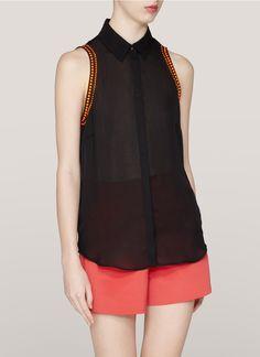 SANDRO Candy studded sleeveless shirt