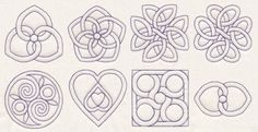 Quilting Knots by Mary Jane Allen ~~~~~~~~~~~ Hoop the empty squares on your quilt and embroider the layers with these tangled quilting embroidery designs with a Celtic and Pennsylvania Dutch influence. 8 embroidery quilting designs
