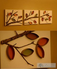 Creative decorative idea made out of toilet paper rolls Kids Crafts, Fall Crafts, Diy And Crafts, Craft Projects, Arts And Crafts, Toilet Paper Roll Art, Toilet Paper Roll Crafts, Diy Wall Art, Diy Art