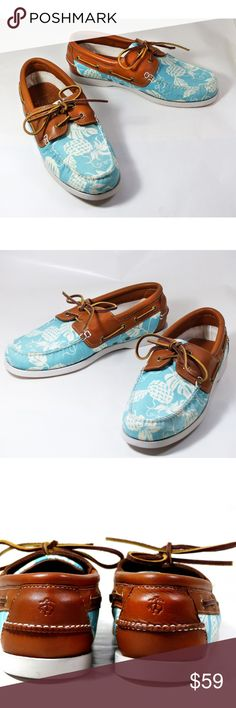 f3e7eb09ae3 BROOKS BROTHERS Mens Boat Shoes Pineapple 9 D Brooks Brothers men s boat  shoes turquoise and ivory