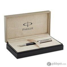 Parker Premier Deluxe Black Silver Trim ST Medium Point Ballpoint Pen
