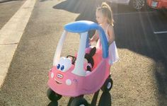Pushing Minnie Mouse in a Pink Cozy Coupe Toy Car | Skip to my Lou Kids ...