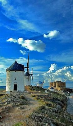 Windmills of Consuegra - Located in the province of Toledo, Castile-La Mancha, Spain. Places Around The World, Oh The Places You'll Go, Great Places, Places To Travel, Beautiful Places, Places To Visit, Around The Worlds, Dom Quixote, Places In Spain