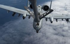 A KC-135 Stratotanker from the 100th Air Refueling Wing refuels a 354th Expeditionary Fighter Squadron A-10 Thunderbolt II above Ramstein Air Base, Germany, March 26, 2015. The A-10s deployed as part of a theater security package in support of Operation Atlantic Resolve. The TSP deployments are possible with the strategic access provided by infrastructure, support and relationships with local communities at U.S. and host nation installations. Service members from Ramstein, Spangdahlem Air…