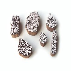 Handcrafted Leaf and Floral Designs Wood Blocks for Printing (Set of 6)…