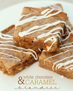 White Chocolate Caramel Blondies recipe on { lilluna.com }