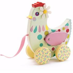 Cutest little hen toy from Djeco - Djeco is a French educational toy company who produce a beautiful range of whimsical wooden toys