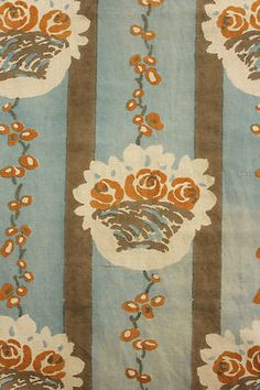 Vintage French printed cotton curtain 1920's ~ blue orange floral Panel TWO ~