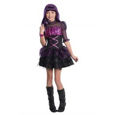This Tokidoki star is ready for trick-or-treating in her orange Donutella Halloween costume for girls! The adorable hood features a perky witch's hat . Fantasia Monster High, Fantasias Halloween, Tutu Costumes, Hooded Dress, Halloween Costumes For Girls, Layered Skirt, Dresses With Leggings, Purple And Black, Oriental Trading