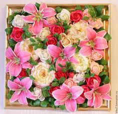 Купить Цветы из полимерной глины. - разноцветный, розовый, малиновый, желтый, белый, зеленый, картина