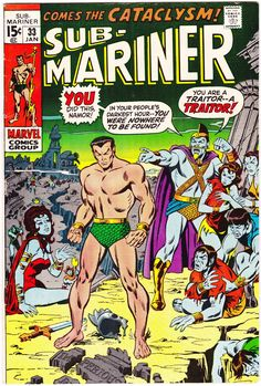 Sub-Mariner 33 1971 color cover by Sal Buscema Marvel Comics Superheroes, Marvel Comic Books, Comic Book Characters, Marvel Heroes, Comic Character, Comic Books Art, Comic Art, Book Art, Marvel Characters