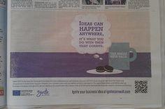 Newspaper advert in print