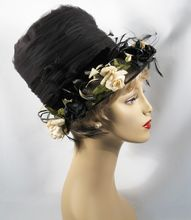 Vintage Henry Margu Hat Fab High Black Net Crown with Florals and Feathers Sz 22