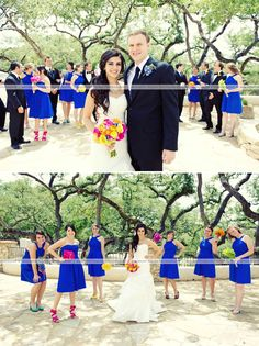 Like the colored shoes and different bouquets