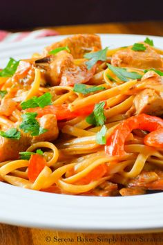 One Pot Cajun Chicken Pasta | Serena Bakes Simply From Scratch Shrimp And Sausage Pasta, Chicken Pasta Dishes, Cajun Shrimp Pasta, Easy Chicken Dinner Recipes, Chicken Sausage, Cajun Shrimp Recipes, Healthy Salad Recipes, Curry Recipes, Entrees