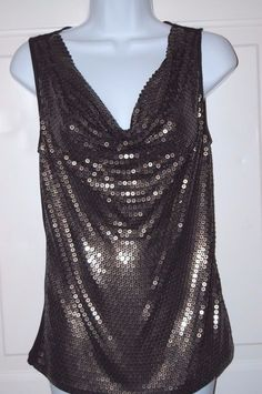 Michael Kors Shirt S Black Tank Top Rayon Gold Sequin Blouse New #MichaelKors #TankCami