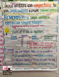 Caffeine and Lesson Plans: Conjunctions and Compound sentences - Anchor chart and freebie!