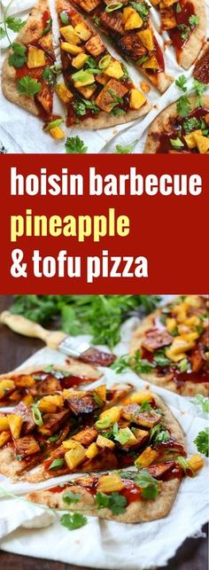 Whole wheat naan bread is topped with spicy hoisin barbecue sauce and juicy baked pineapple chunks in this flavor-packed little vegan tofu pizza.