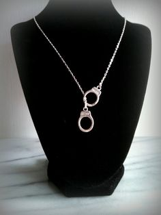 Handcuff Necklace Police Wife Jewelry Silver Gift for by ktnunna, $16.00