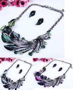 Peacock Shape Necklace & Earrings Set Multicolor Leaf Metal Chain Swea – gohappie.org