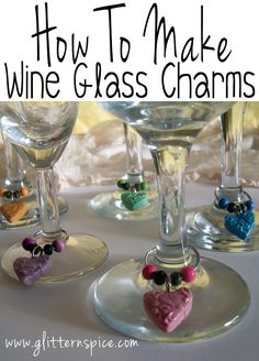 Make wine glass charms from beads and #polymer clay #hearts in this #crafts project that's easy enough to do with kids.
